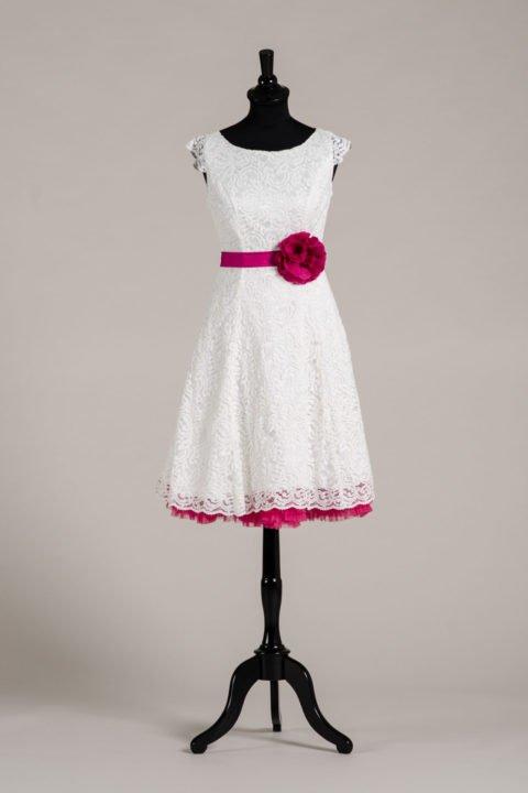 küssdiebraut Seidenband Brautblüte Pink