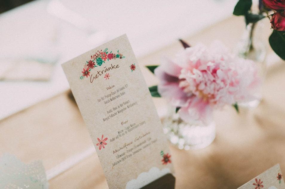 Papeterie Getränke Hochzeit