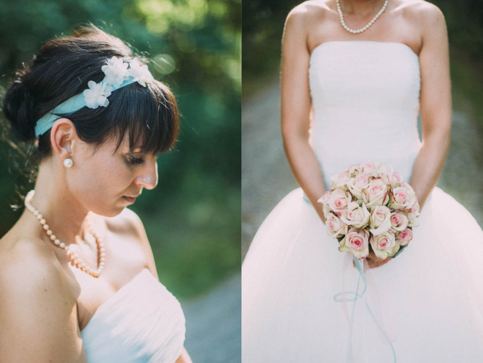 Braut mit Brautstrauss im Prinzessinnenkleid