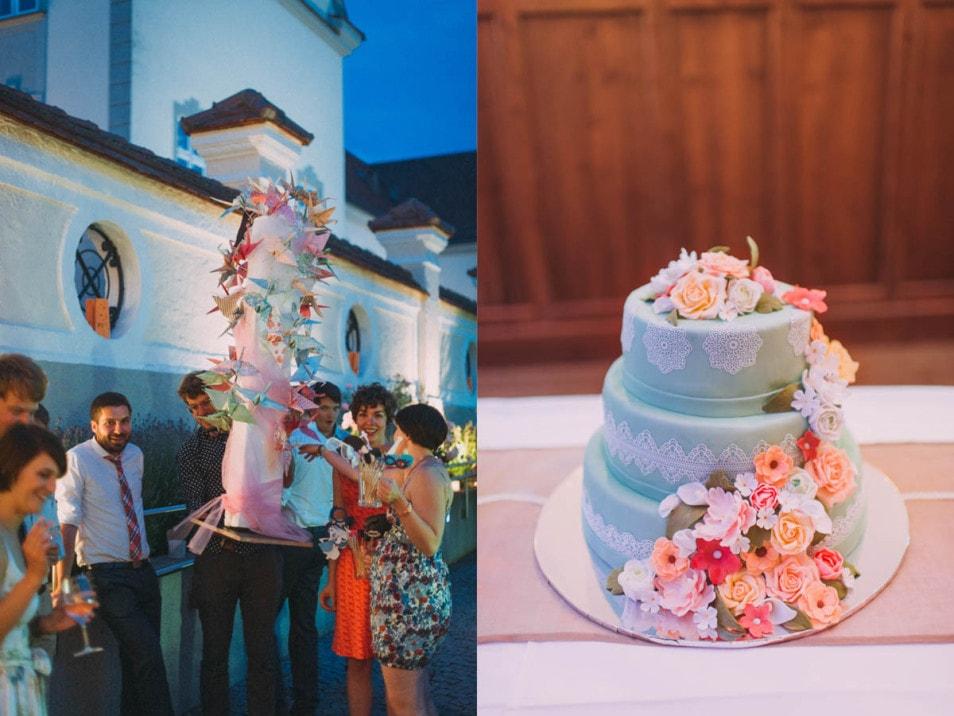 wundervolle Hochzeitstorte in türkis