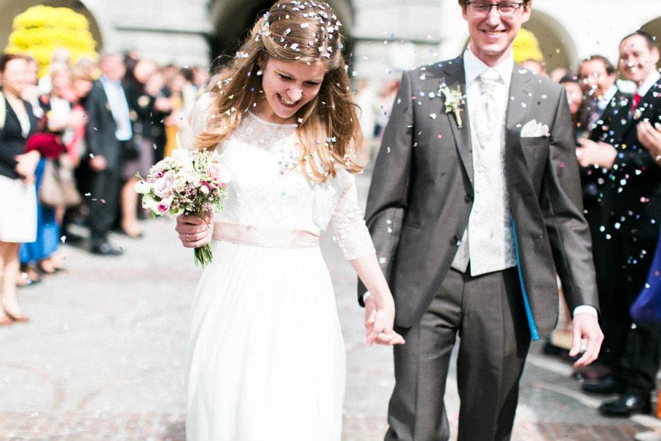 Konfetti romantische Hochzeit