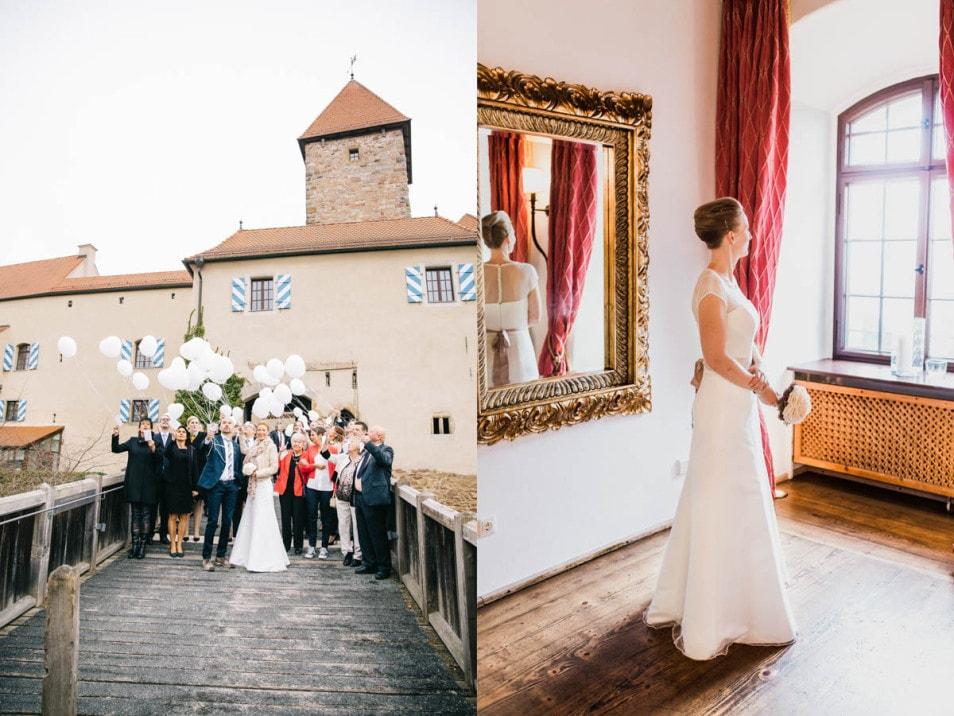 romantische Braut in bezaubernden Brautkleid