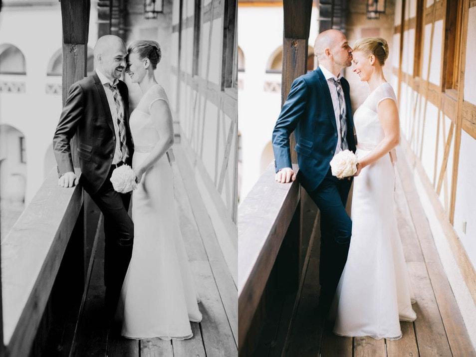 verliebtes Brautpaar macht Hochzeitsbilder