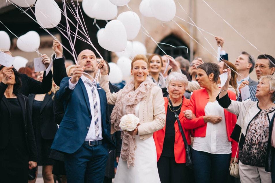 Hochzeit Ballons mit Glückwünschen