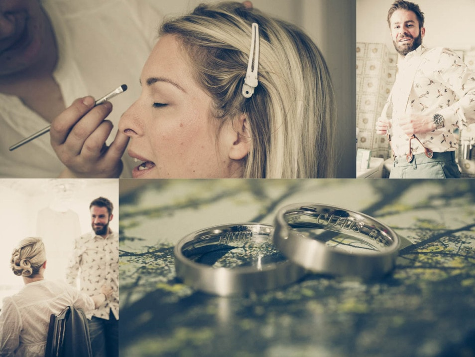 Getting Ready Braut und Bräutigam