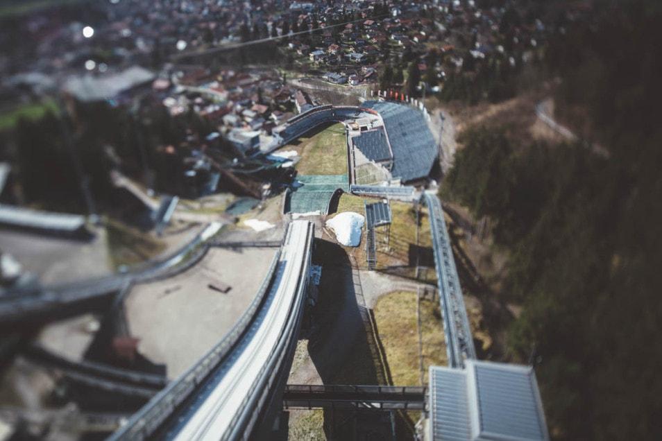 Blick von der Skisprungschanze Obersdorf