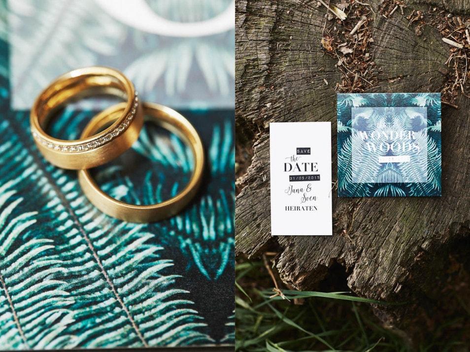 Hochzeitsdeko Wald Papeterie und Trauringe
