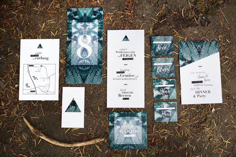 Papeterie zur Hochzeitsdeko Wald