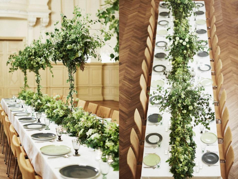 Tafel mit Bäumen dekoriert
