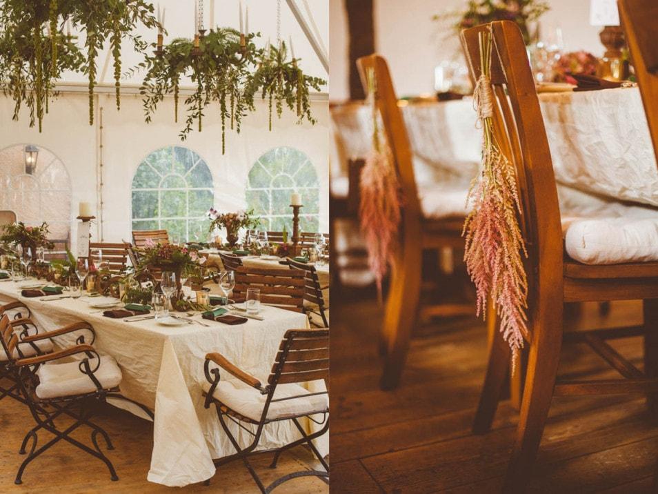 Zelt für die Hochzeit liebevoll dekoriert