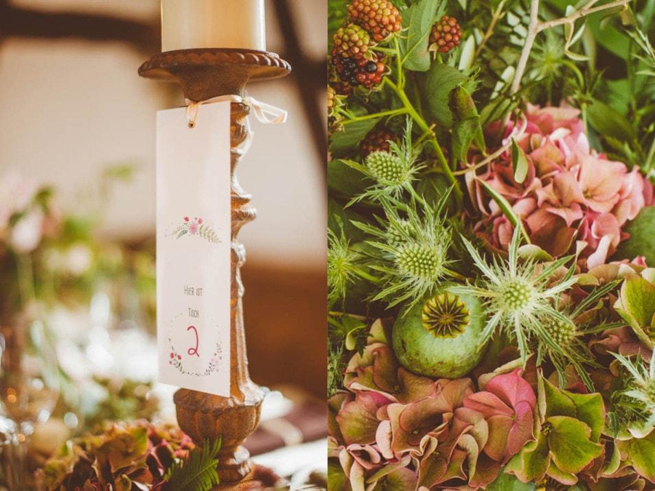 Hochzeit Papeterie und Blumendekoration