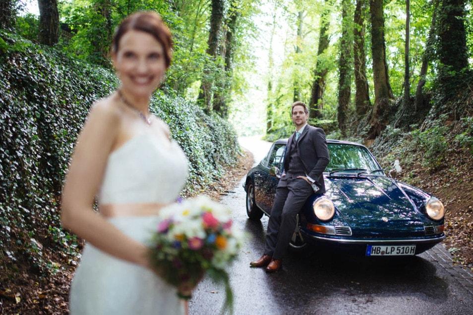 Vintage porsche 911 als Hochzeitsauto