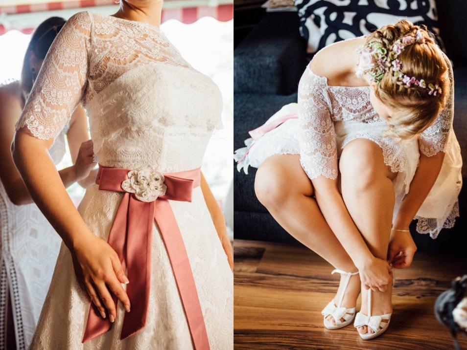 Die Braut in ihrem Spitzenkleid