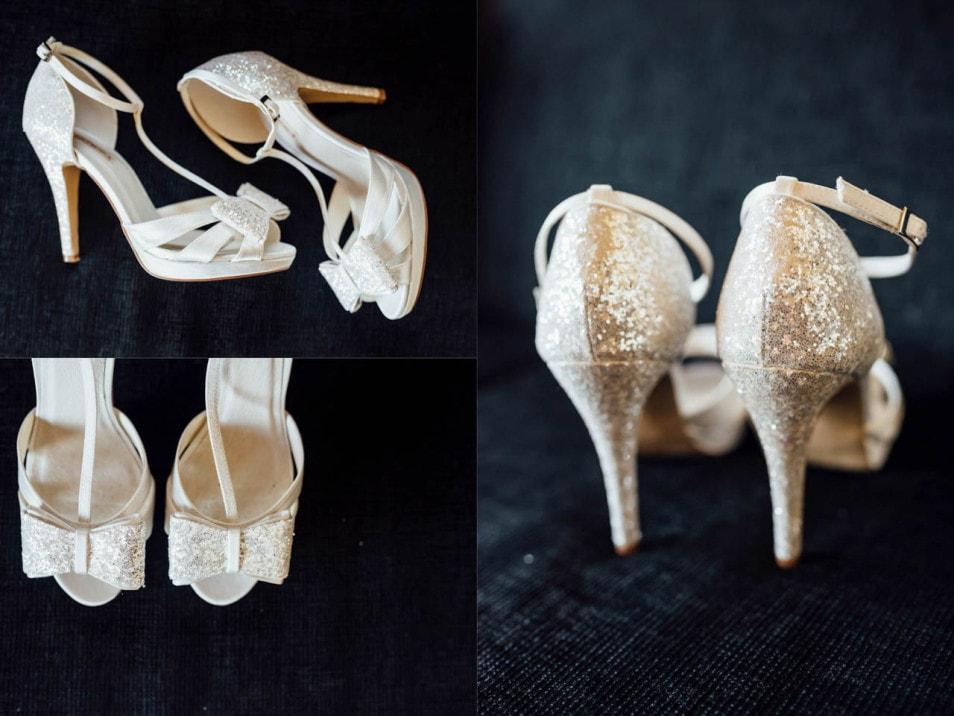 Glitzer Hig Heels der Braut
