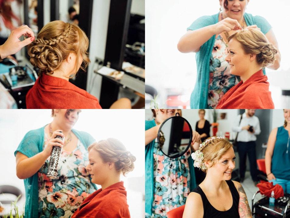 Getting Ready die Braut beim Friseur