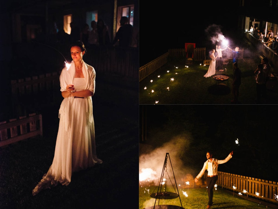 Lagerfeuer auf der Hochzeitsfeier