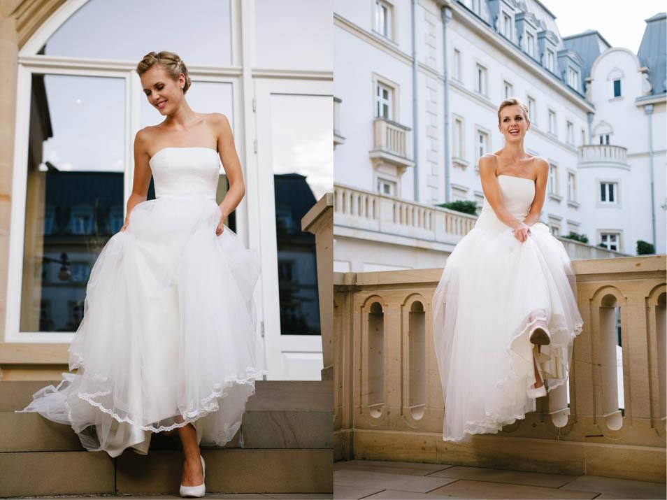Brautkleid Tüll mit Spitzencorsage