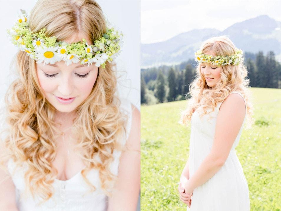 Braut mit Blumenschmuck im Haar