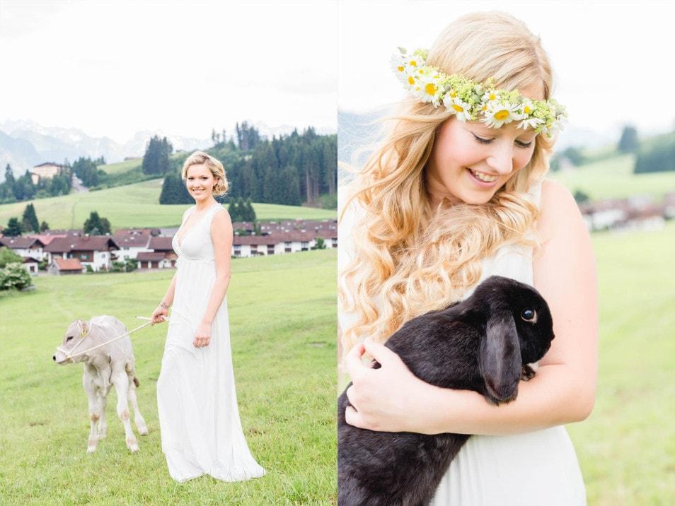 Braut mit Kälbchen und Haase