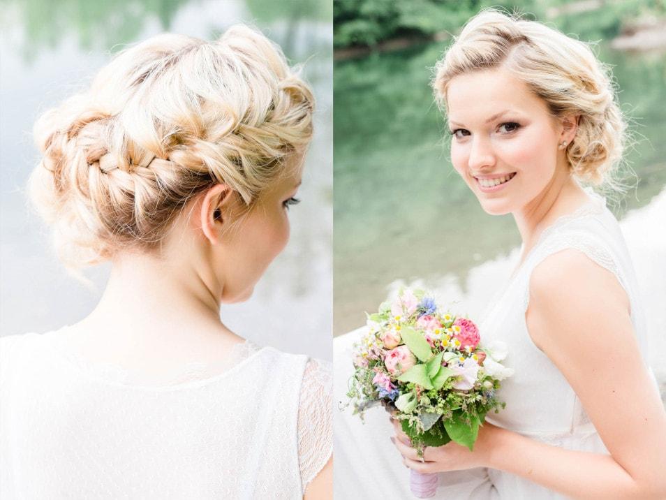 natürliche Brautfrisur mit geflochtenem Haar