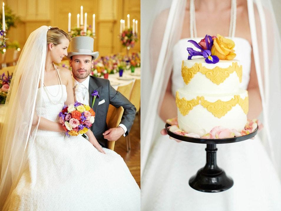 Braut und Bräutigam mit Zylinder