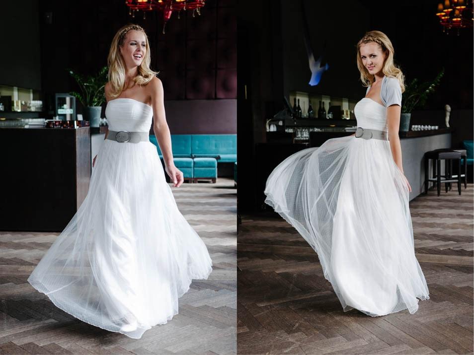 Brautkleid in Tupfentüll kombiniert mit Ledergürtel