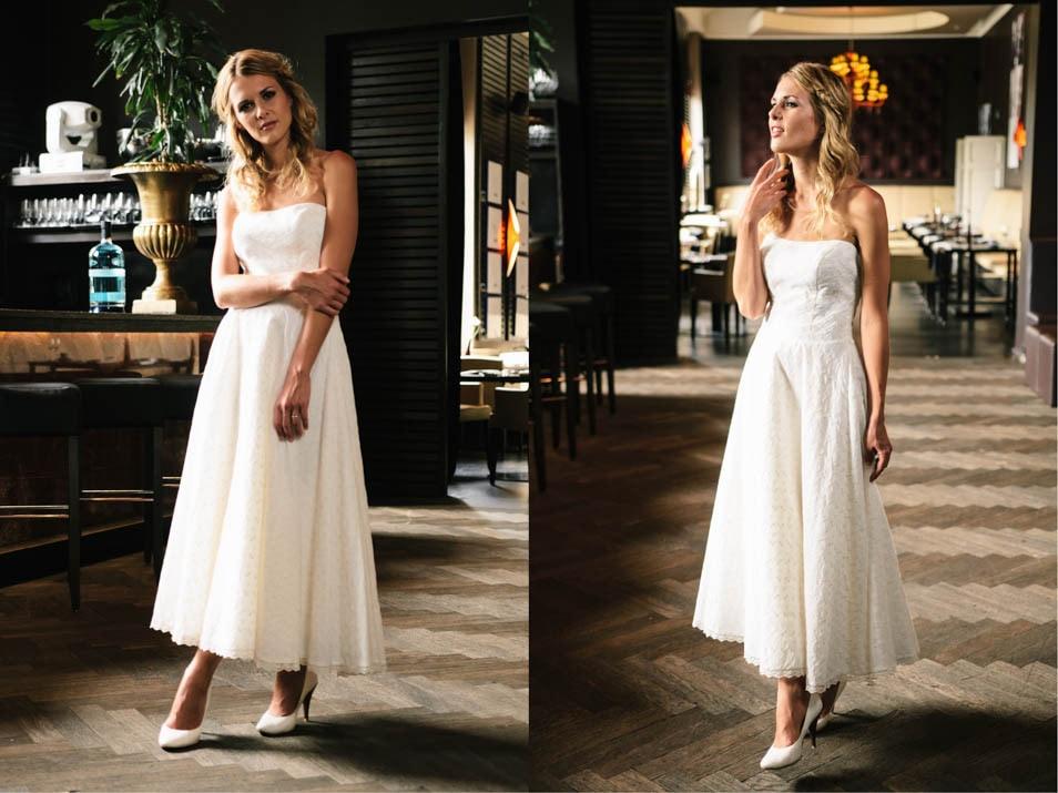 7/8 Kleid in Baumwollspitze T-Length