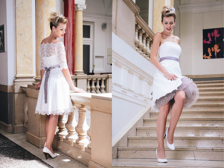kurze Brautkleider 50er Jahre Petticoat · küss die braut