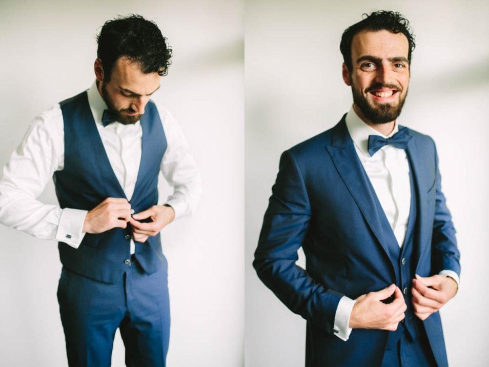 Hochzeitsanzug in Blau passend zum Hochzeitsbulli