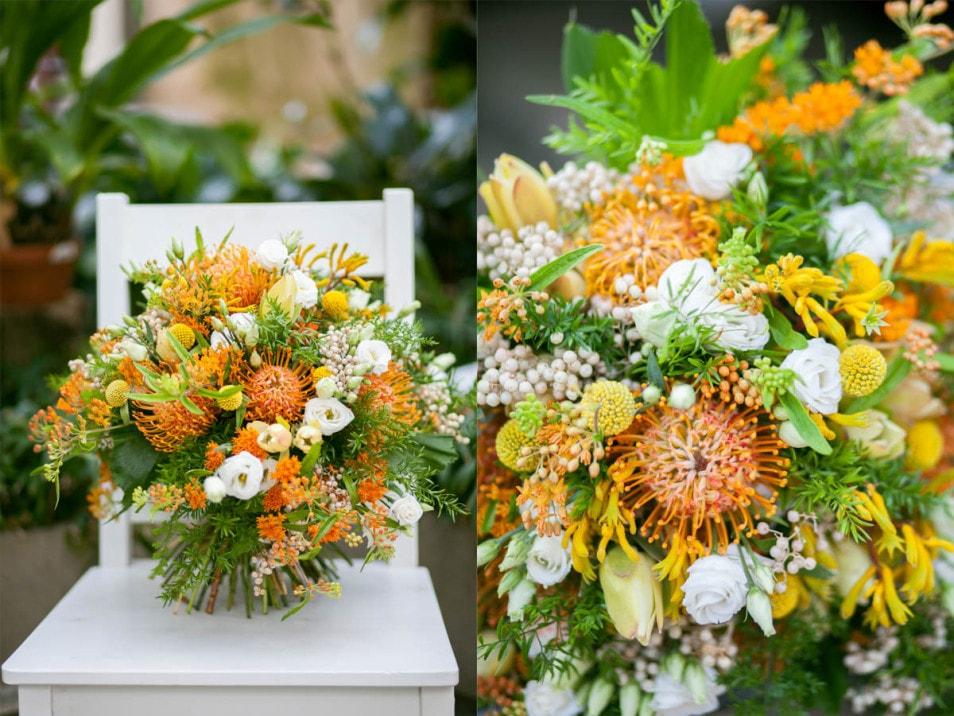 fertiger Brautstrauß in orange und weiß
