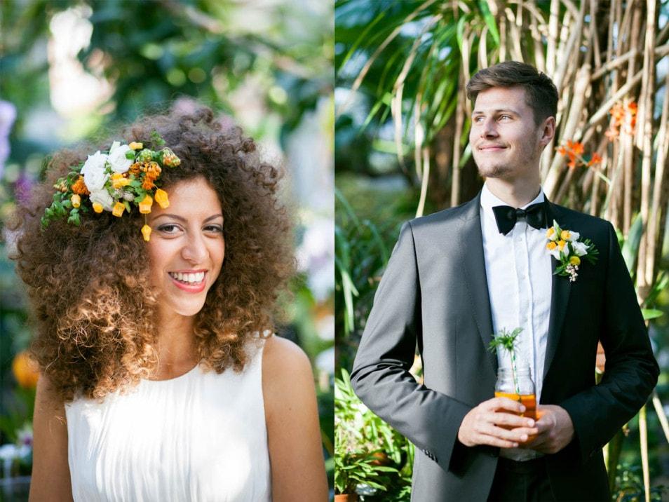 Braut und Bräutigam mit Blumenschmuck
