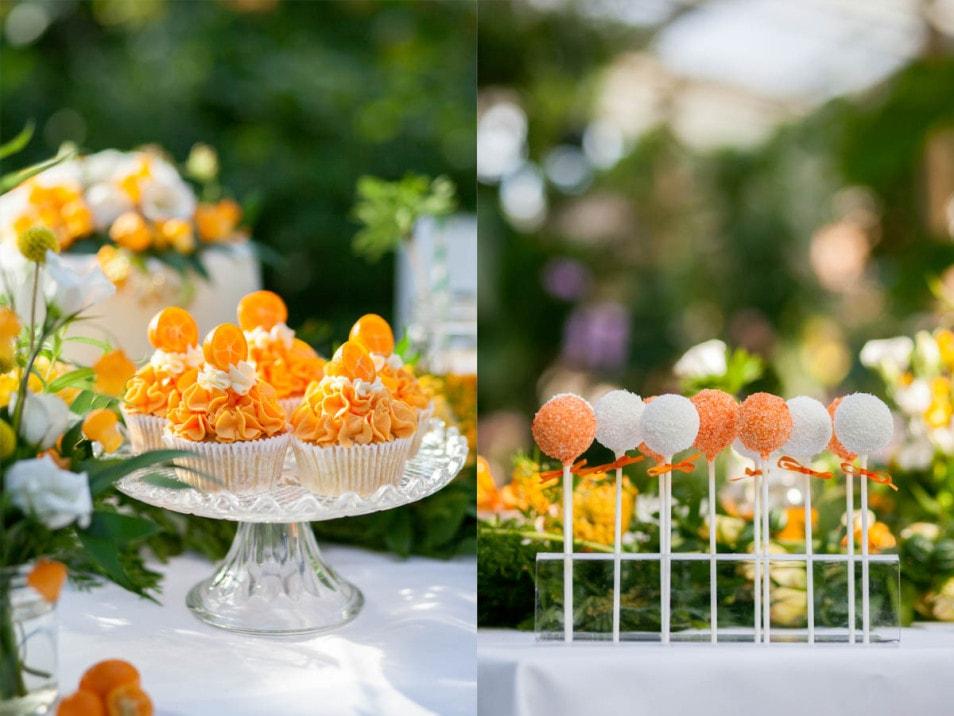 Cakepops in Orange und weiß