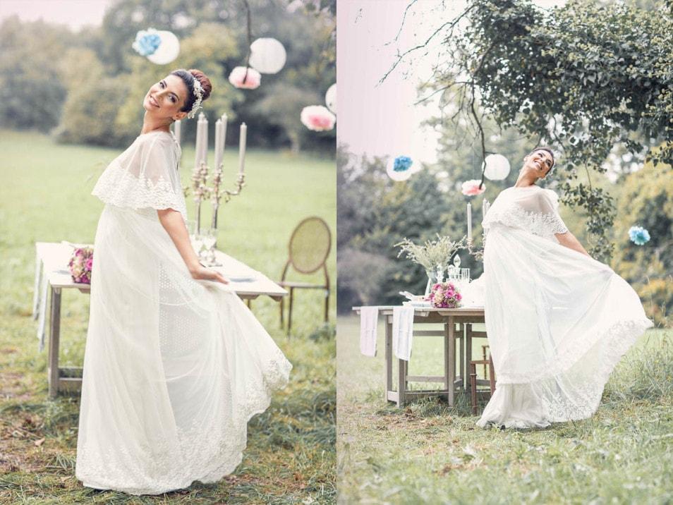 Romantische Brautkleider verträumt in der Natur