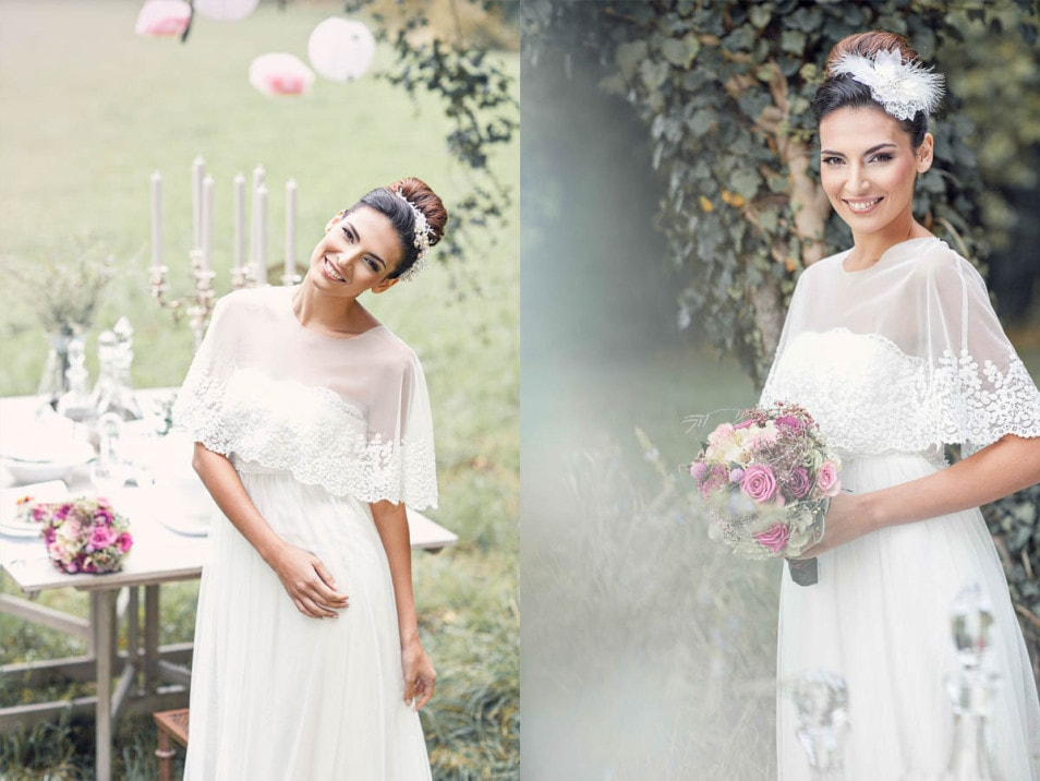 romantisches Brautkleid mit Accessoires