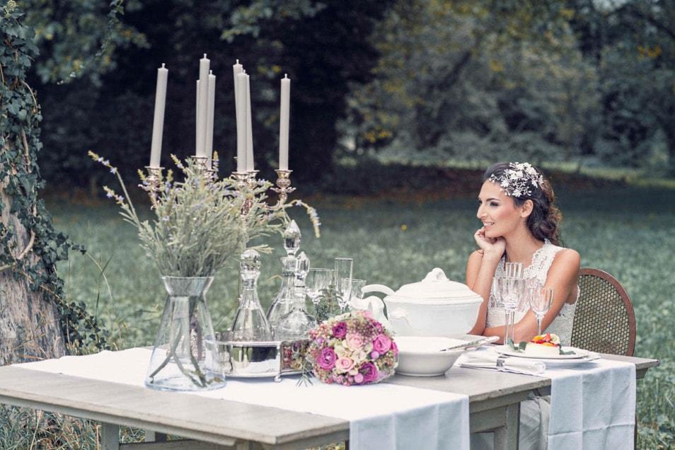 Hochzeitstisch Dekoration Silber