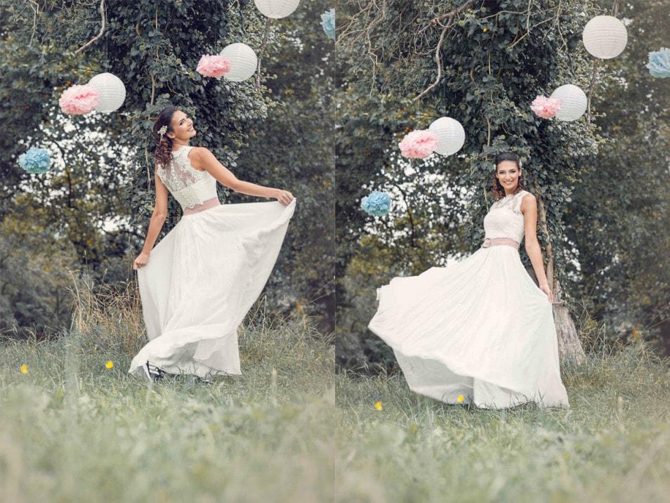 romantisches Brautkleid mit Gürtel in Rosé