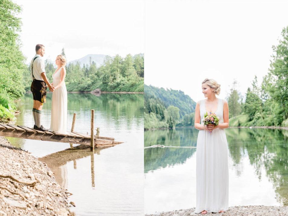 Braut und Bräutigam am Gebirgssee