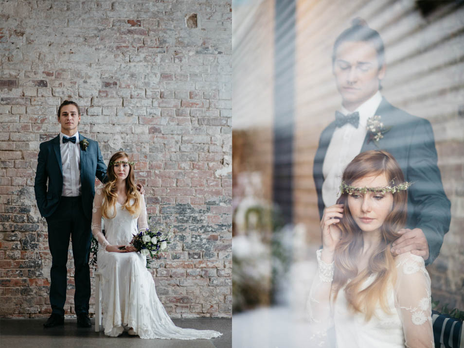 tolles Brautpaar Foto blaue Details