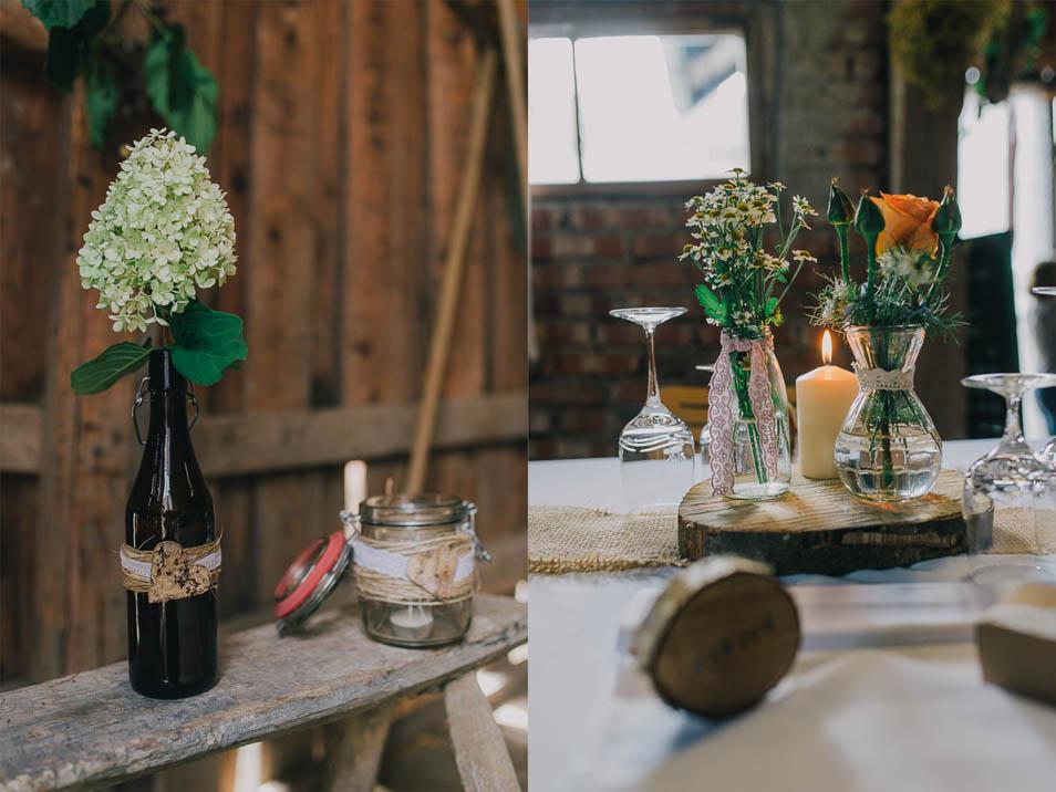 sueßer Blumenschmuck als Hochzeitsdeko