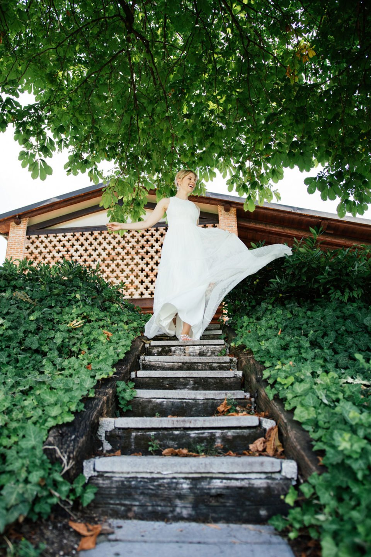 Boho Hochzeitskleid Tüpfchentüll