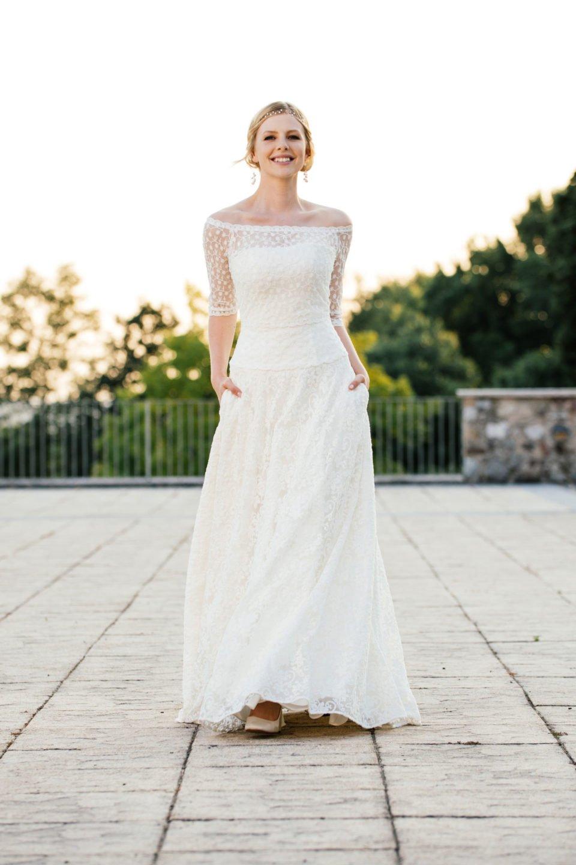 Brautkleid A-Linie - mit tiefer Corsage und Taschen