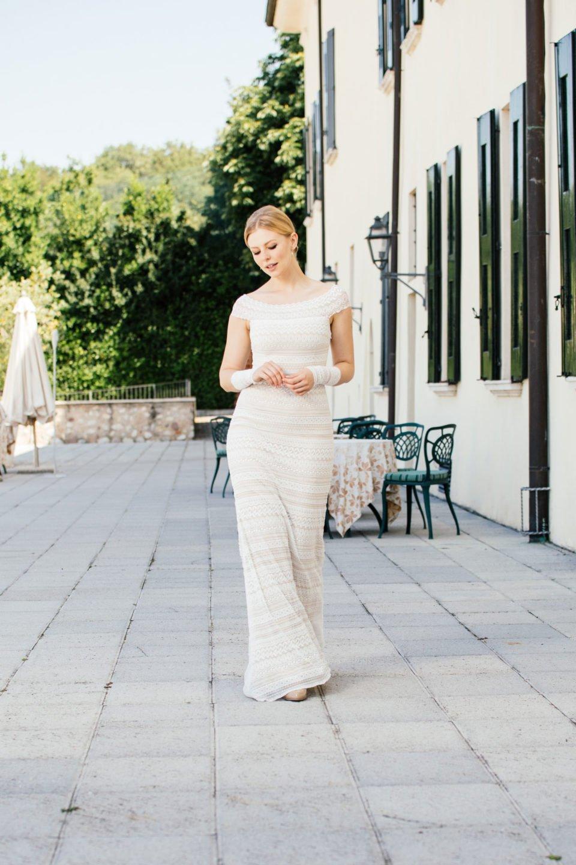 Brautkleid Carmenausschnitt - Stretchkleid SIlhouette