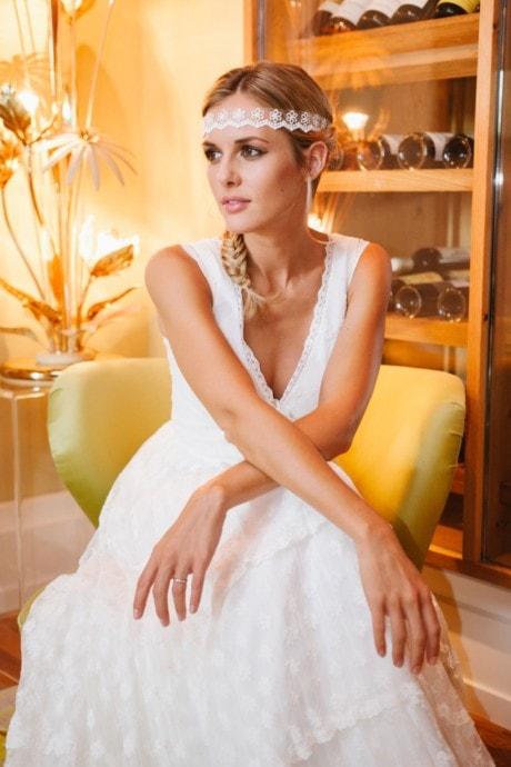 Brautkleid Hippie Style mit V-Ausschnitt und Flügelarm – Dana
