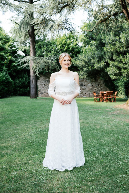 Brautkleid schulterfrei - Spitzenkleid mit Seidentop
