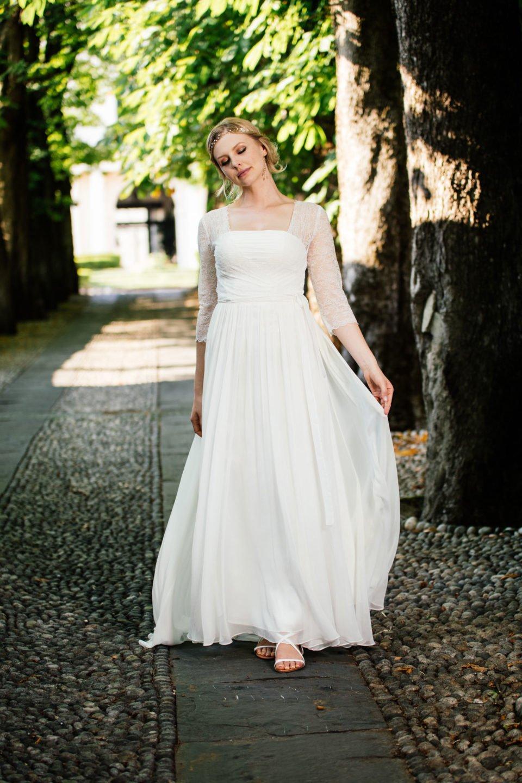Hochzeitskleid 20er Jahre fliessender Seidenrock