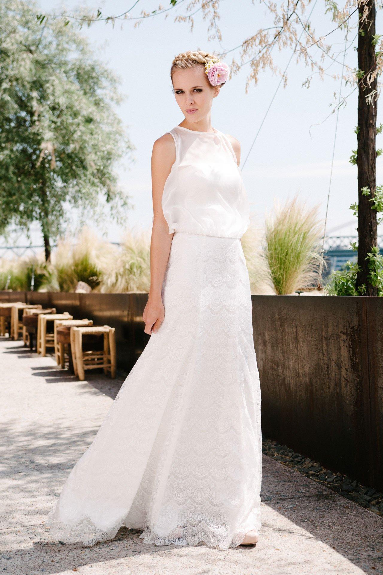 Hochzeitskleid A-Linie aus wellenförmiger Spitze - Kate
