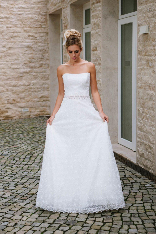 Hochzeitskleid trägerlos Spitze