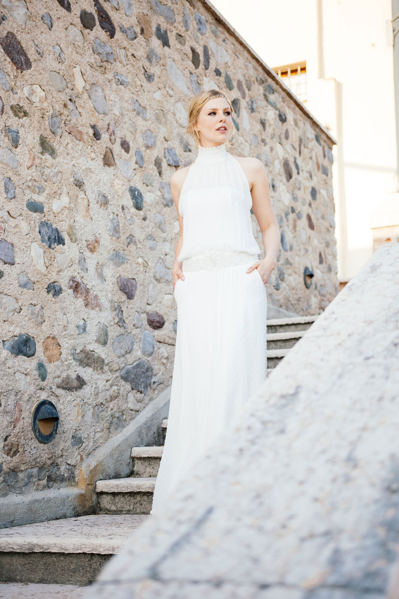 New Boho Brautkleid aus angesagtem Punktechiffon für moderne Bräute