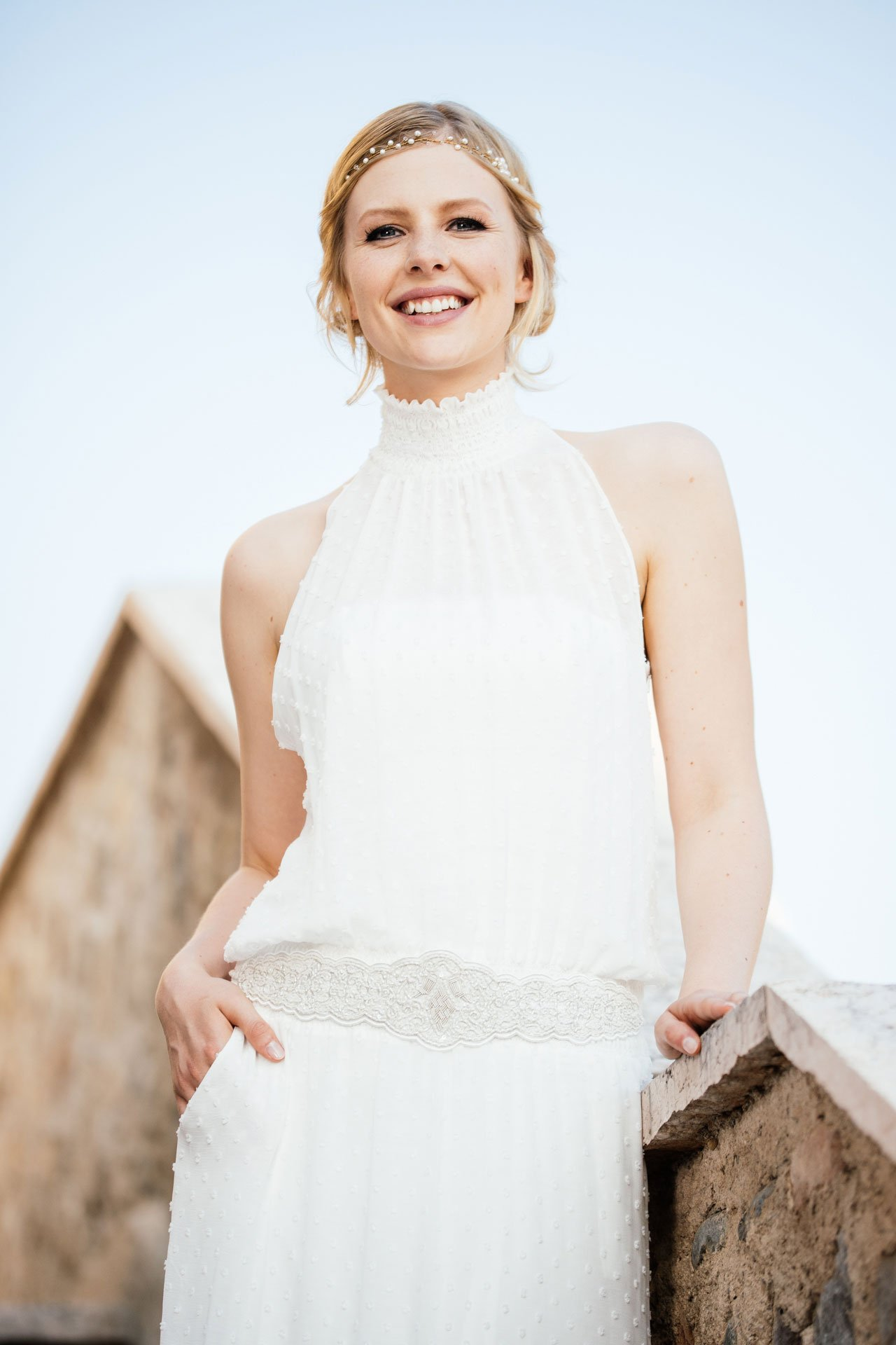 New Boho Brautkleid aus Punktechiffon