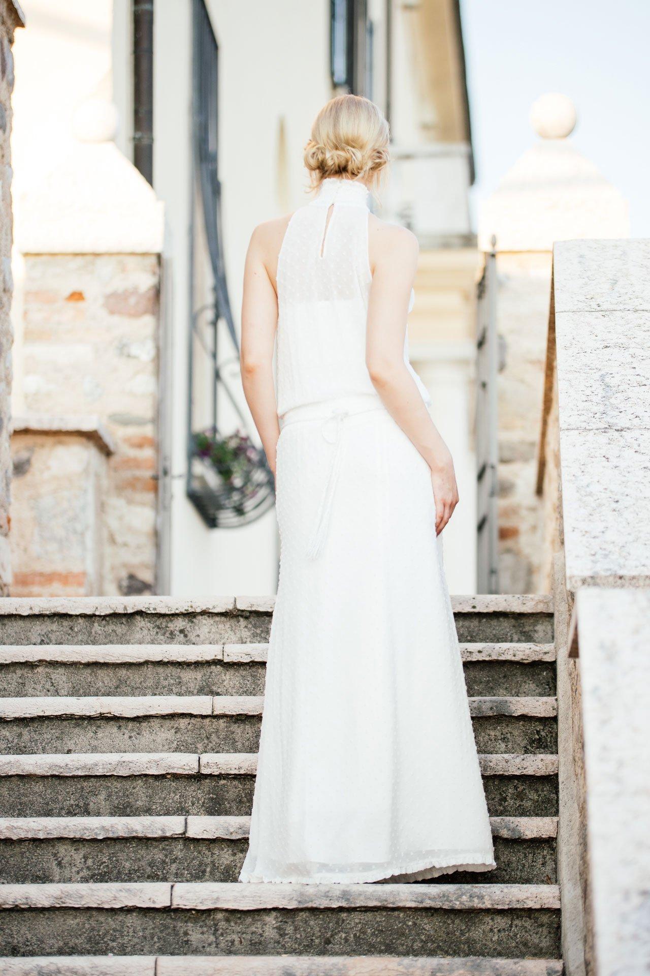 New Boho Brautkleid aus Punktechiffon mit Taschen